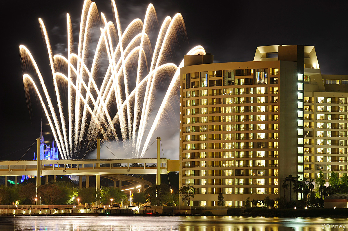Bay Lake Tower   Outside View With Fireworks At The Sky