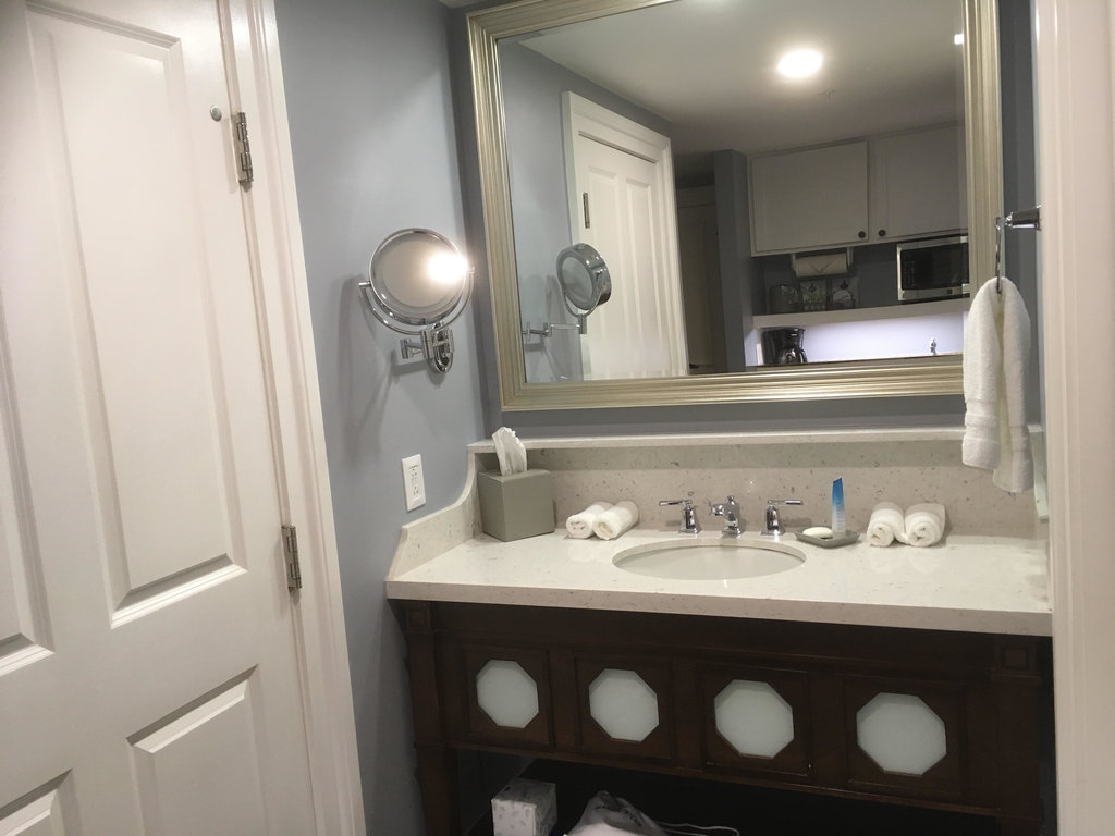 DVC Listing Testimony | Sink and Mirror Outside the Bathroom with Fresh Towels and Tissues