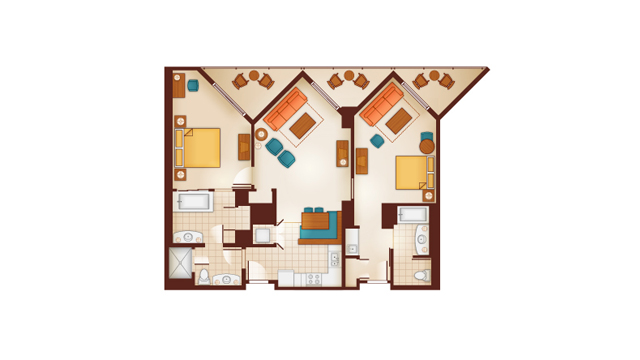 Aulani - Two-Bedroom Lock-Off Floor Plan