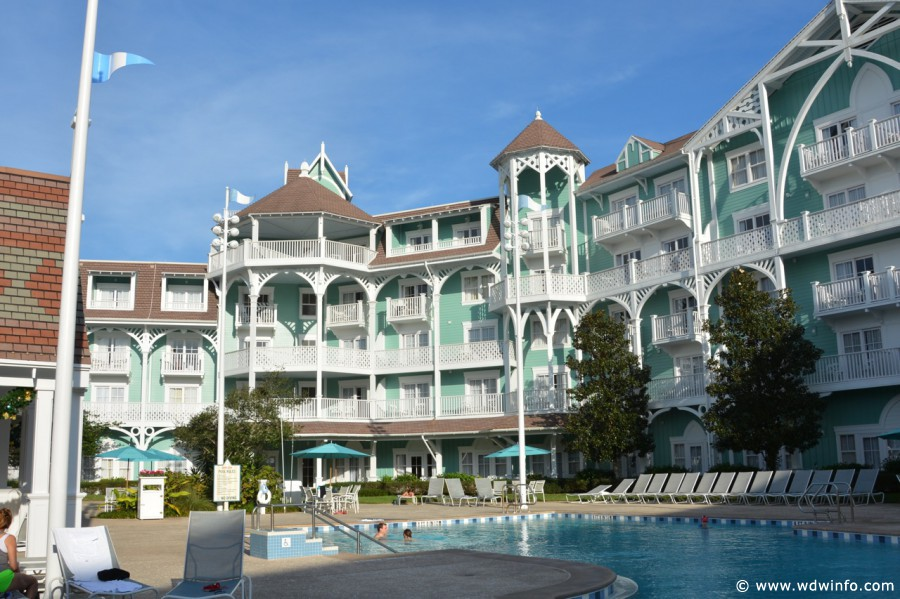 Disney's Beach Club Villas | View of The Hotel Building From The Pool