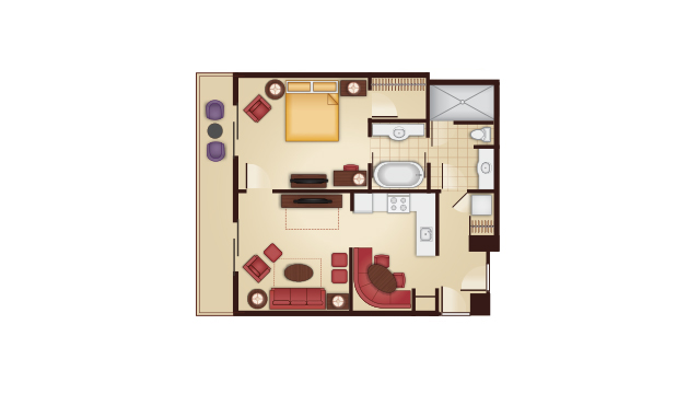Grand Floridian - One-Bedroom Floor Plan