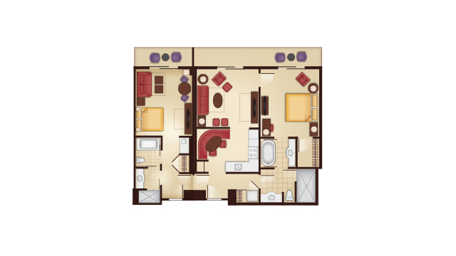 Grand Floridian - Two-Bedroom Lock-Off Floor Plan