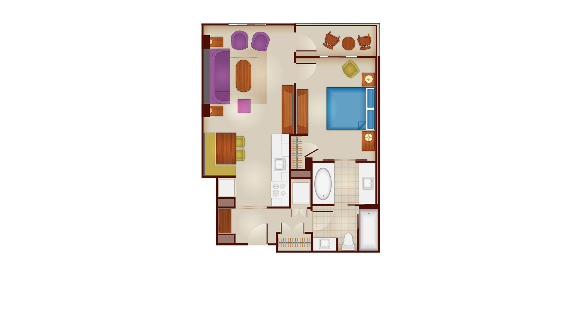 Riviera - One-Bedroom Floor Plan