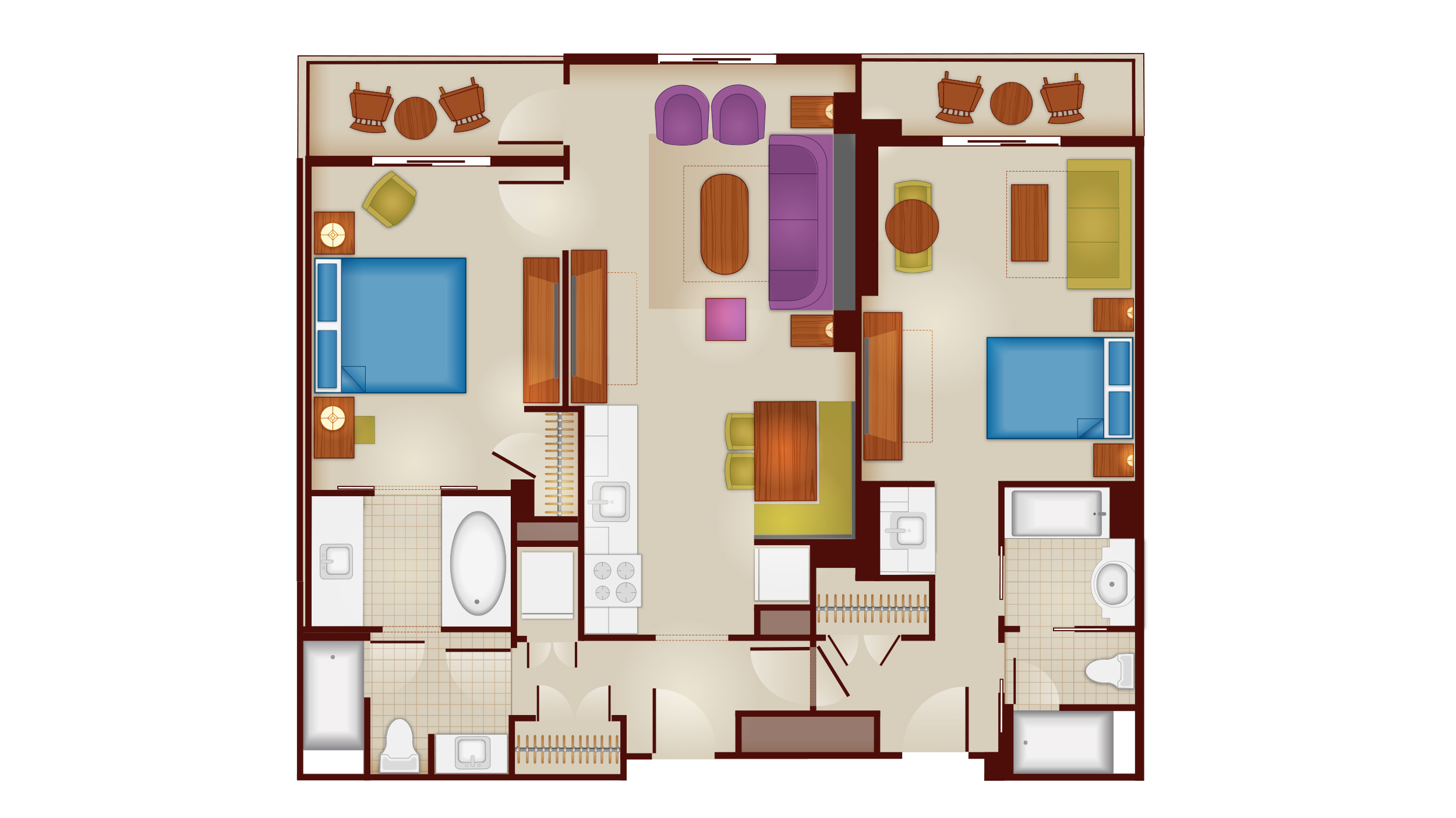 Riviera - Two-Bedroom Lock-Off Floor Plan