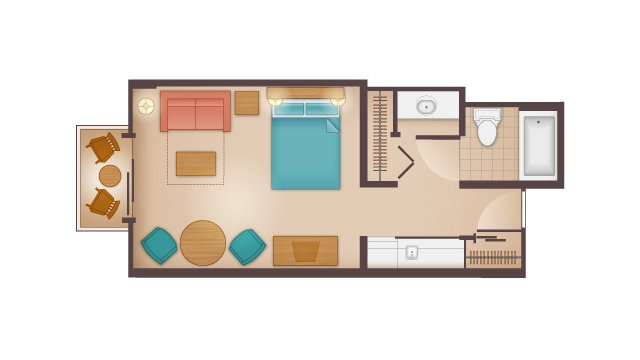 Beach Club - Deluxe Studio Floor Plan