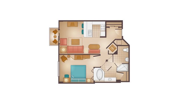 Beach Club - One-Bedroom Villa Floor Plan