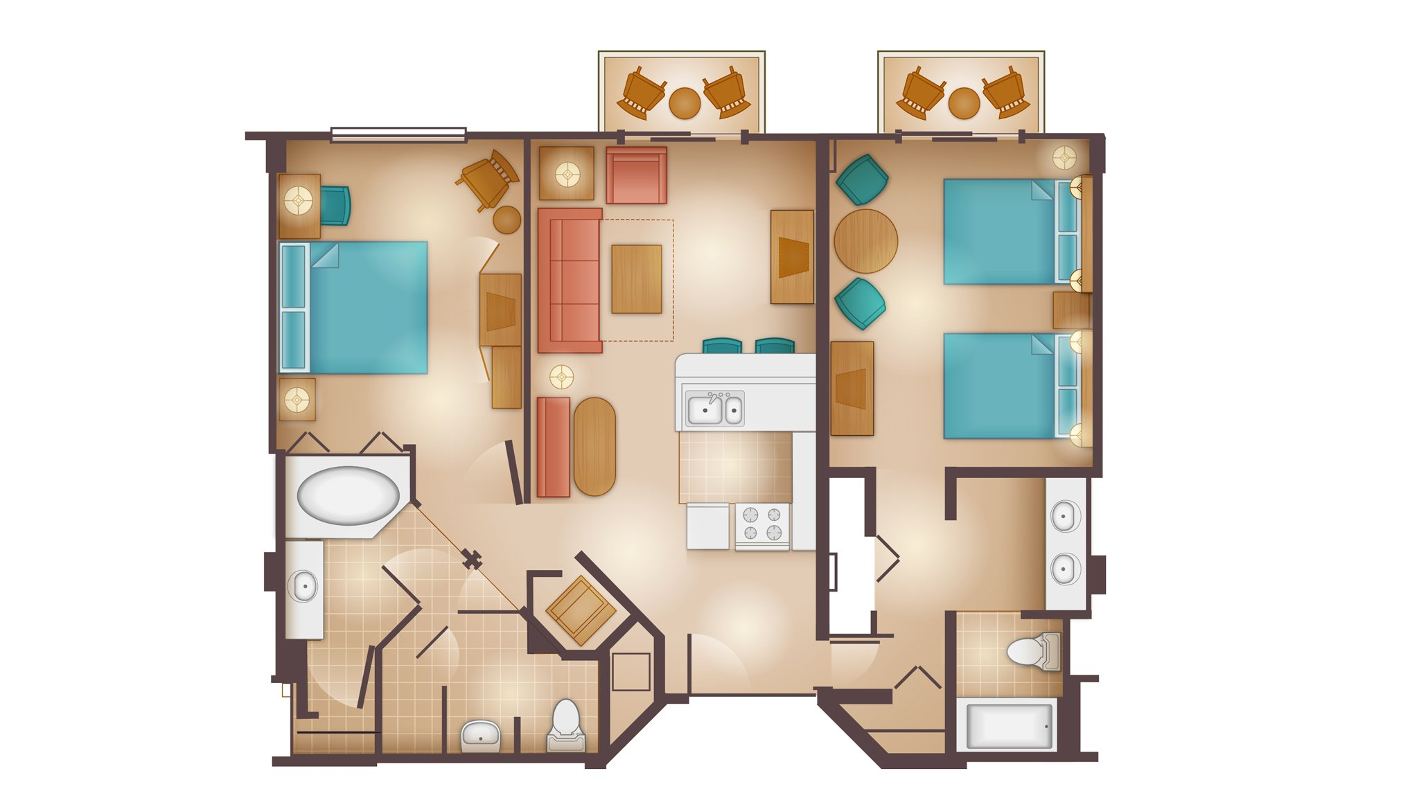 Beach Club - Dedicated Two-Bedroom Villa Floor Plan