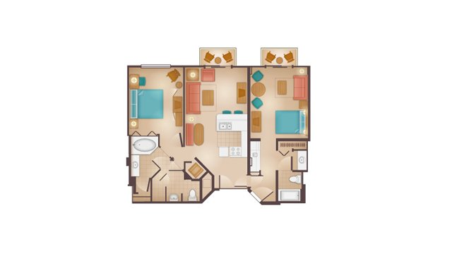 Beach Club - Two-Bedroom Lock-Off Villa Floor Plan