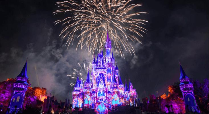 Disneyland | A Spectacular Fireworks Display At Disney Castle During Night